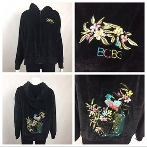 Velour Hoodie Embroidered Size 1X. U20
